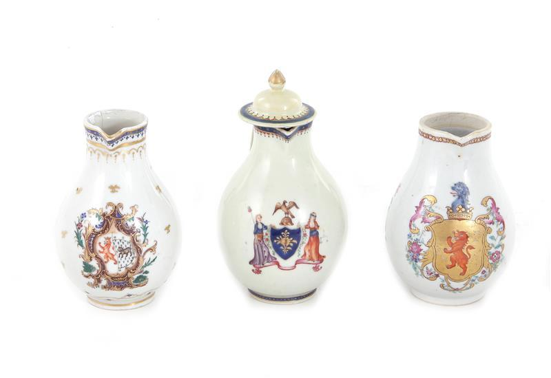 Chinese armorial porcelain creamers (3pcs)