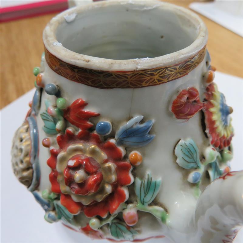 Chinese Export porcelain lotus teapot