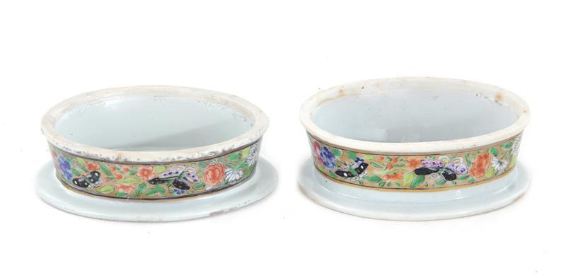 Pair Chinese Export oval trencher salts (2pcs)