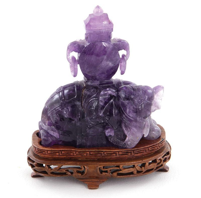Chinese carved amethyst crystal figural covered urn