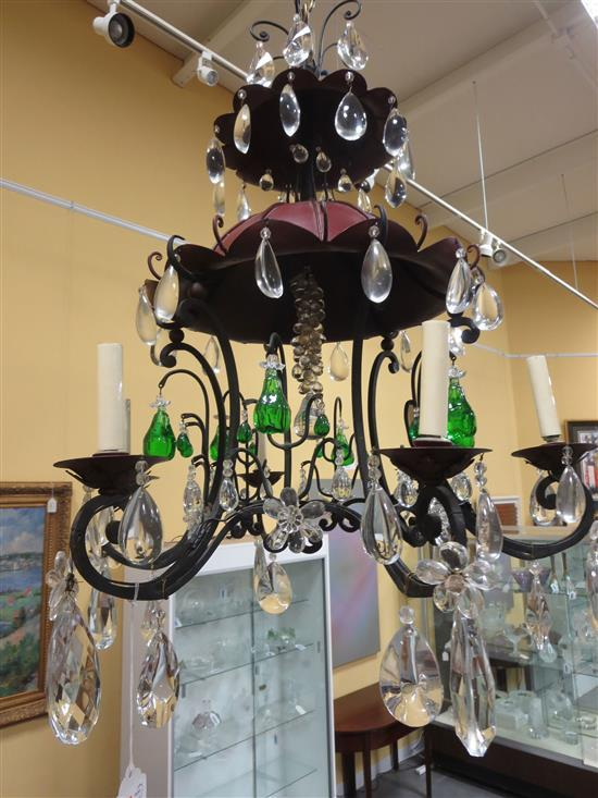 Chinese pagoda-form wrought-metal and crystal chandelier