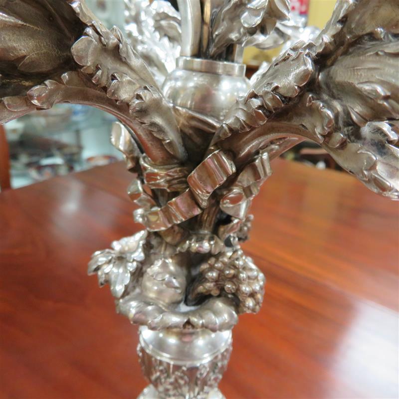 Superb pair French silver seven-light candelabra, Risler & Carre (2pcs)