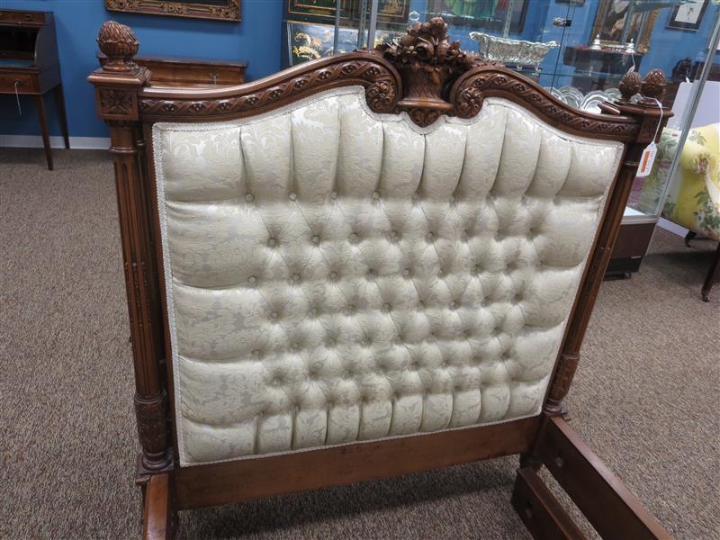 Pair Louis XVI style walnut single beds (2pcs)
