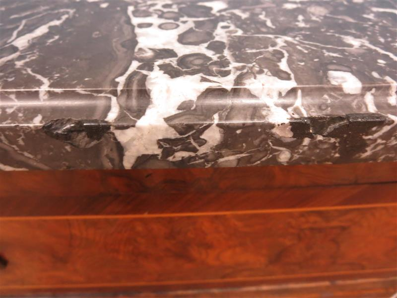 Louis XVI burl walnut and marble commode