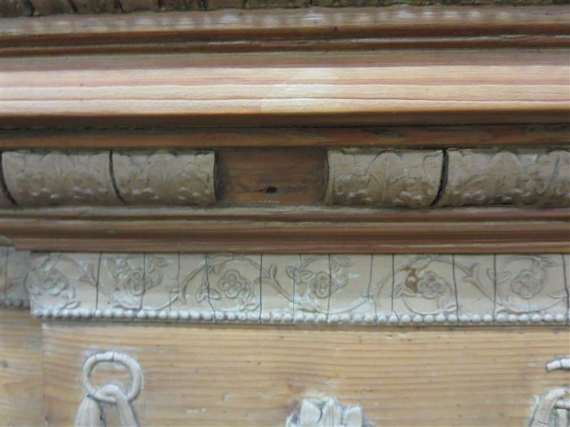 Georgian stripped pine and plaster-decorated fireplace surround