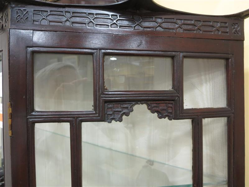 Chinese Chippendale style carved mahogany curio cabinet