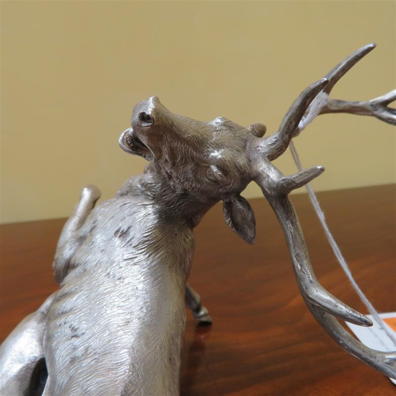 Italian silver hound attacking stag sculpture