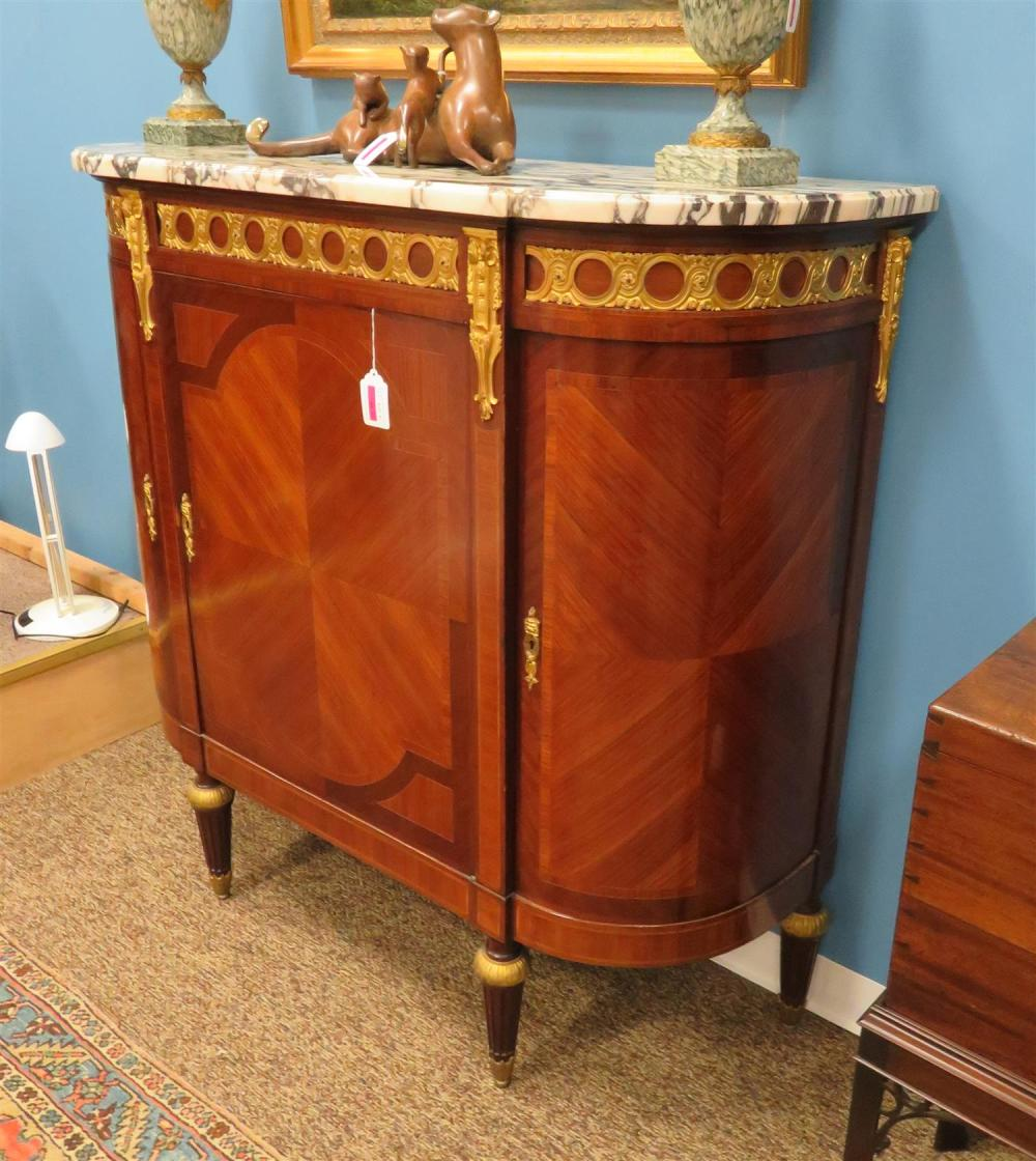 Louis XVI Style Bronze-Mounted Marquetry and Marble Commode