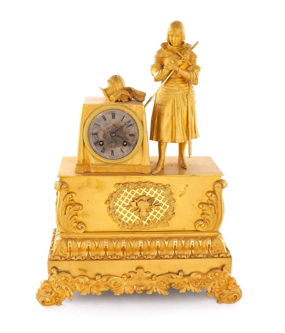 French Gilt-Bronze Figural Mantel Clock, for Southern Market
