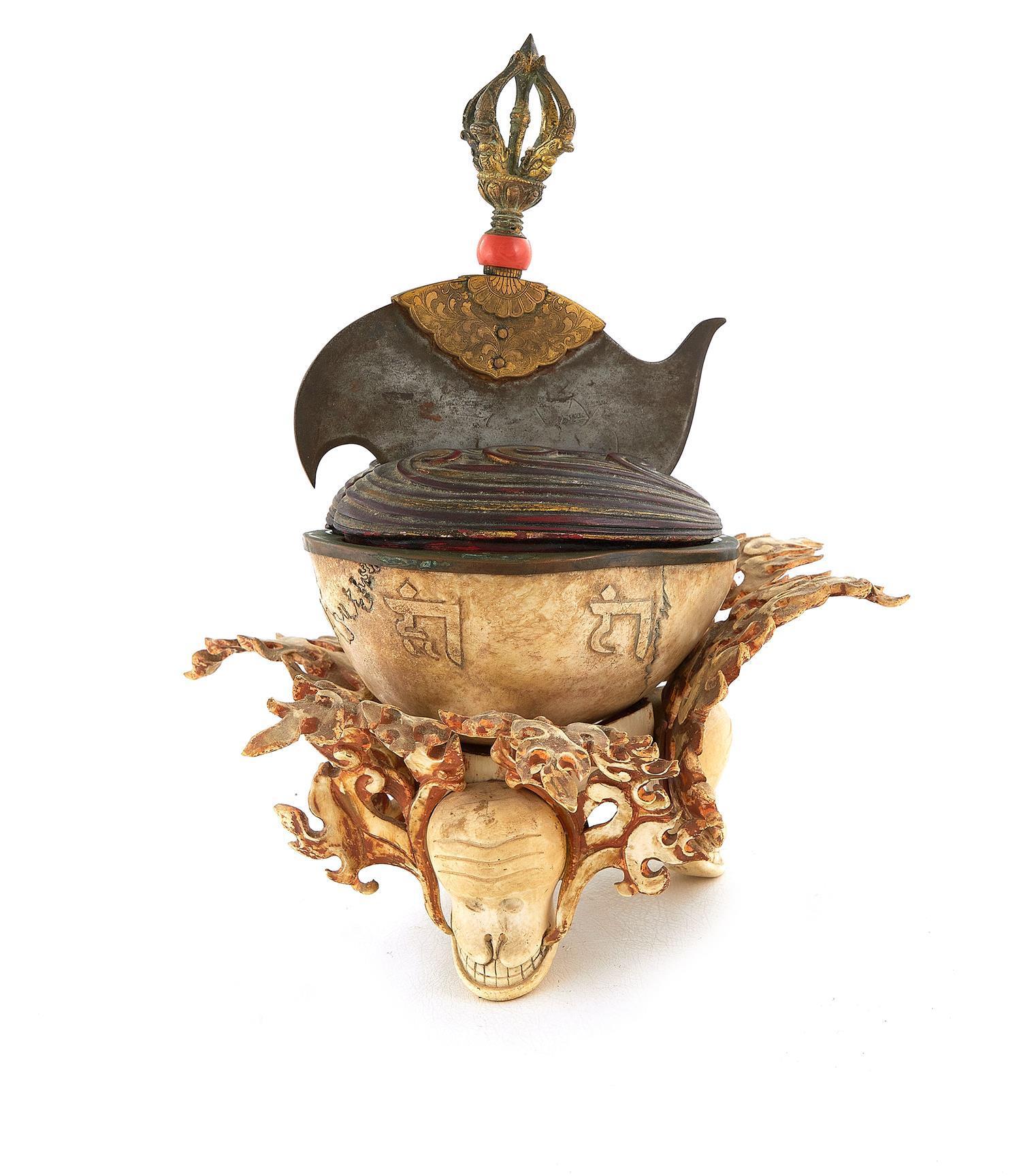 Tibetan Ritual Kapala with Kartika on Stand