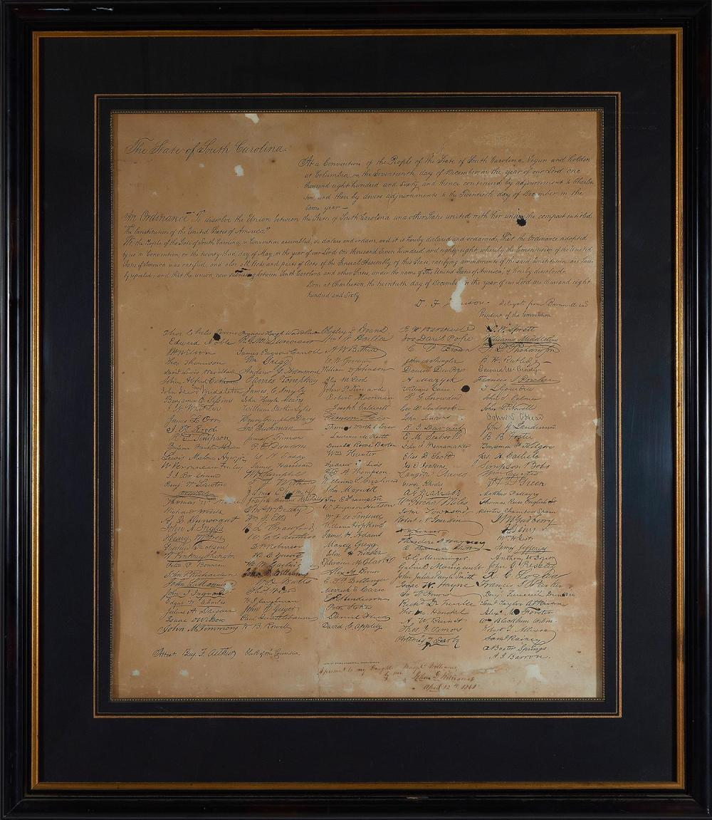 South Carolina Ordinance of Secession, with Dedication by Signer