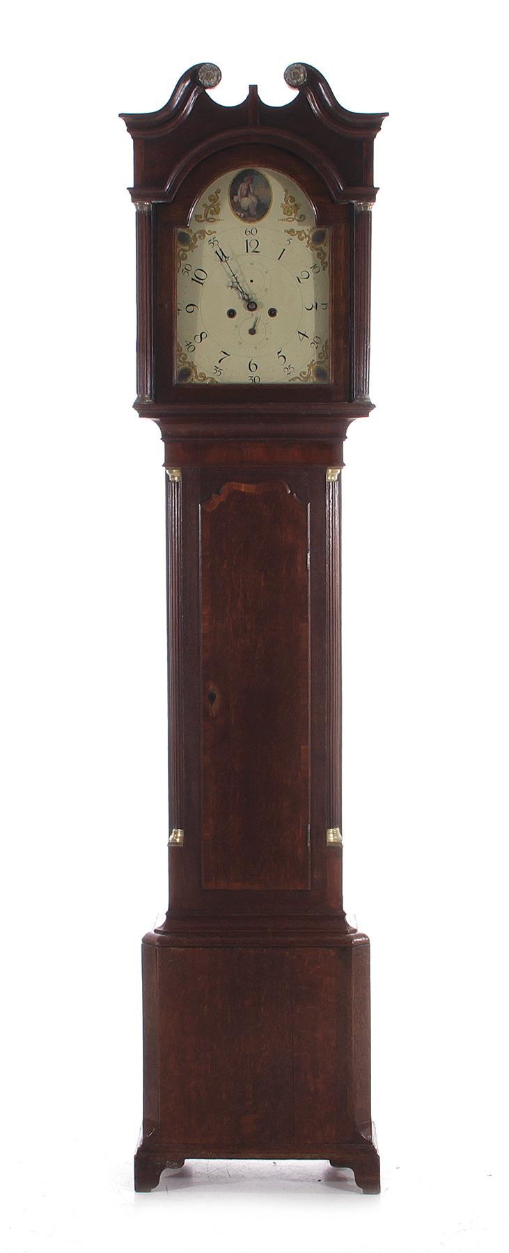 English mahogany and oak longcase clock