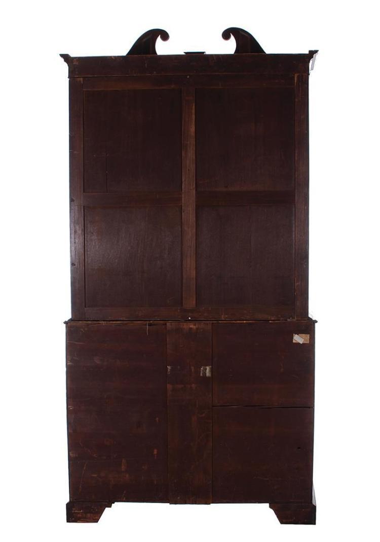 Georgian inlaid mahogany bureau bookcase