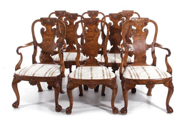 Queen Anne style figured walnut dining chairs, set of eight (8pcs)