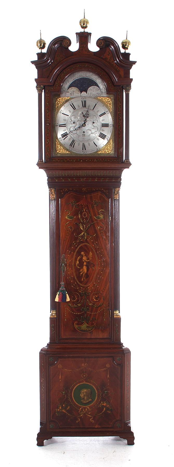 Dutch brass-mounted and painted tall case clock, Goslink Ruempol Laren