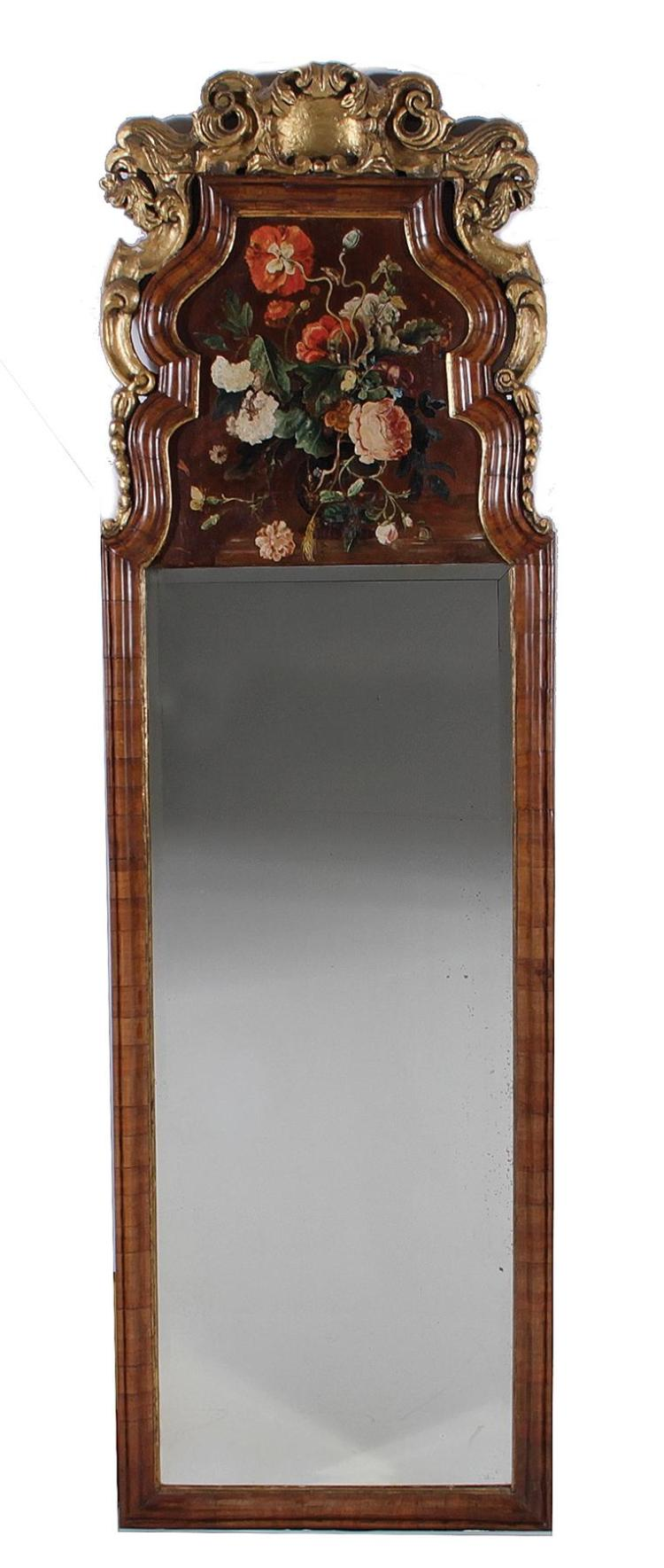 Georgian style carved and giltwood walnut mirror