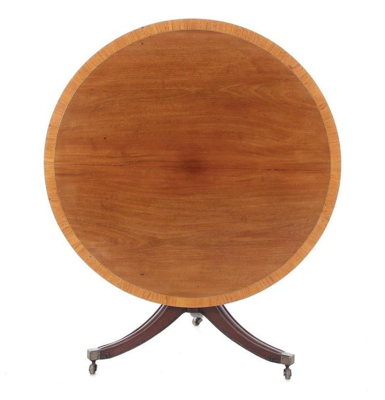 Georgian satinwood-inlaid mahogany tilt-top breakfast table