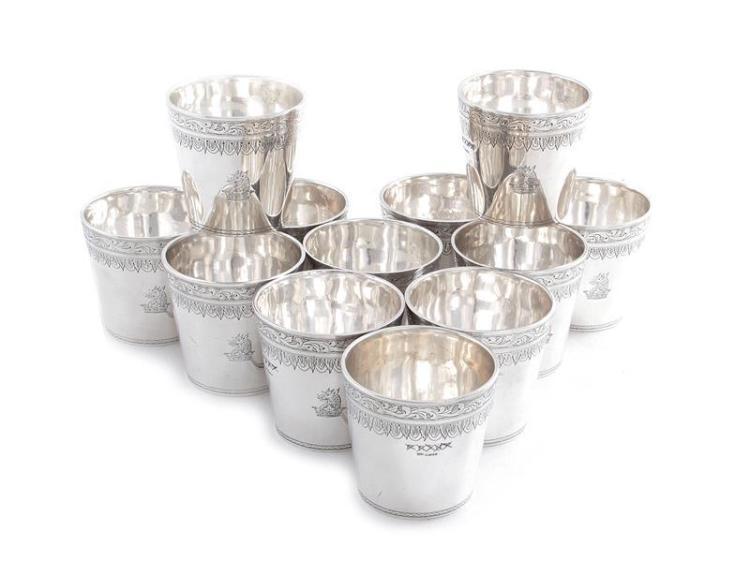 Georgian style silver julep cup set (12pcs)