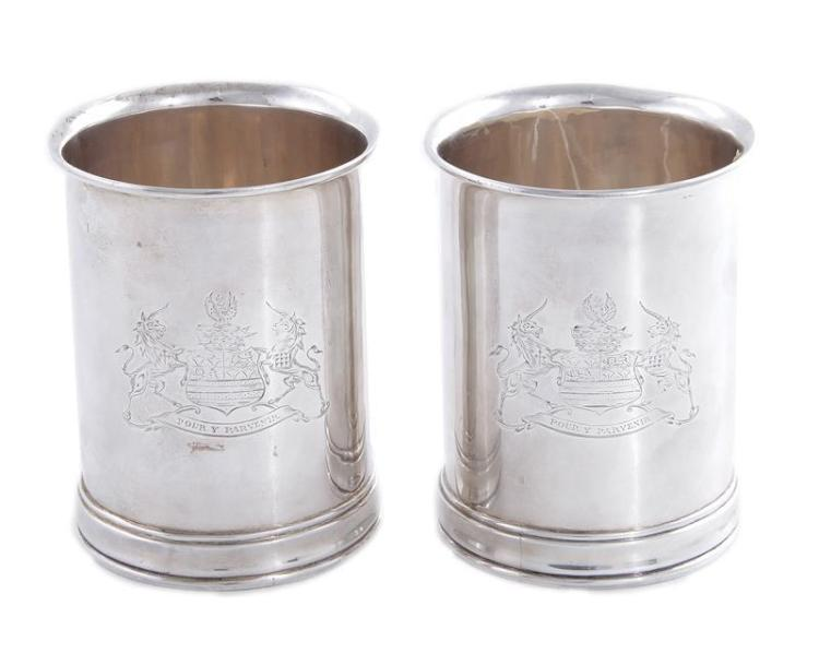 Pair George III armorial silver bottle holders, Crouch & Hannam (2pcs)
