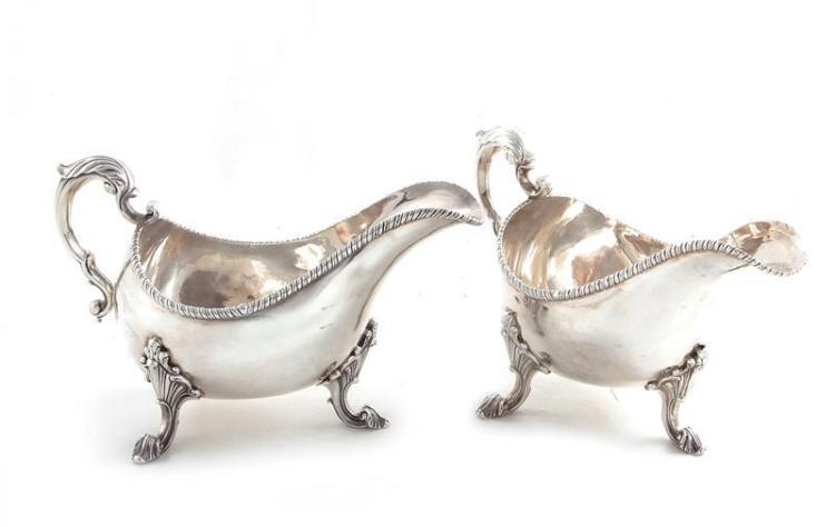 Pair Georgian silver sauceboats, probably Irish (2pcs)