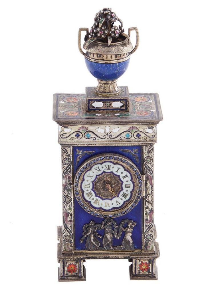 Austrian enameled-silver musical desk clock