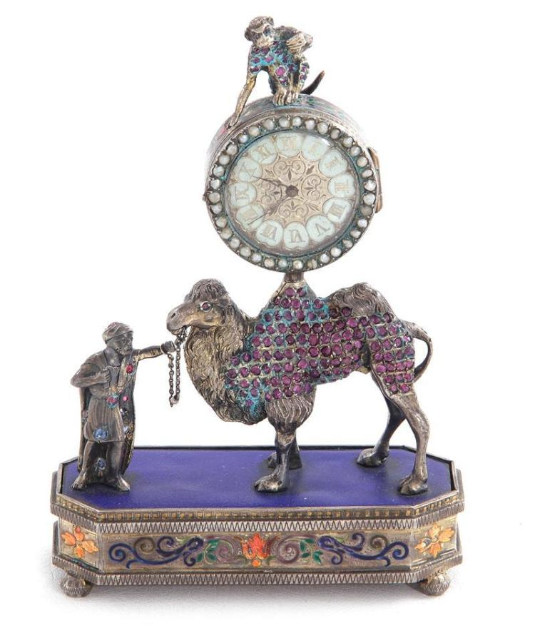 Austrian enameled-silver and gemstone figural desk clock