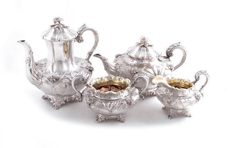 William IV silver tea and coffee service, Charles Fox II (4pcs)