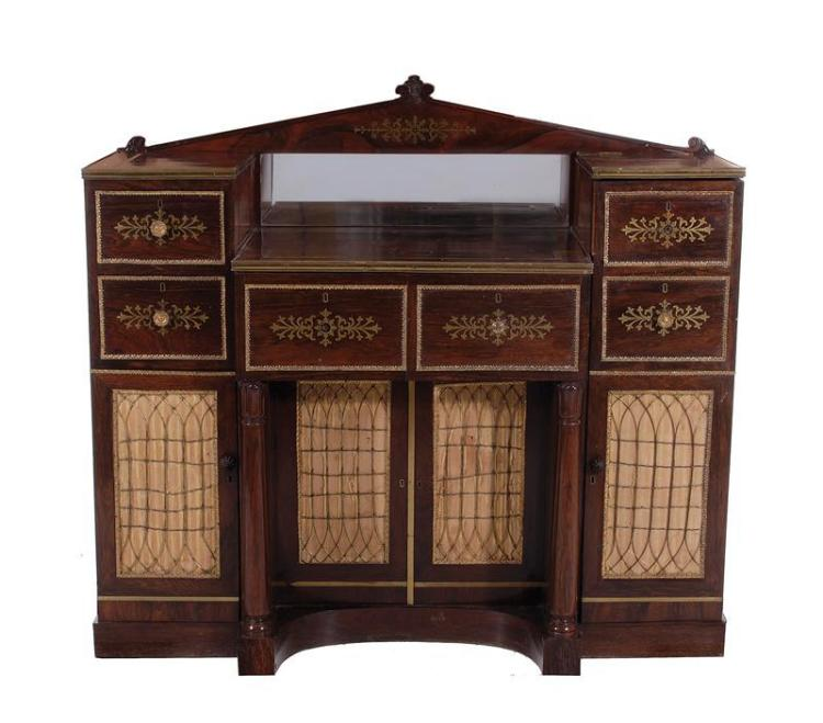 Regency brass-inlaid and mounted rosewood dressing cabinet