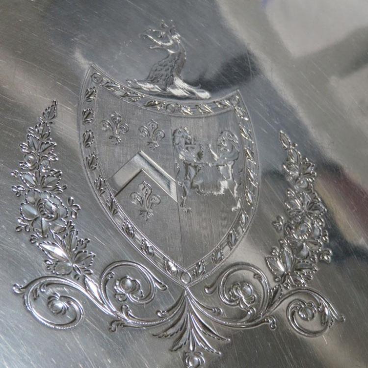 George III armorial footed silver salver, Elizabeth Jones