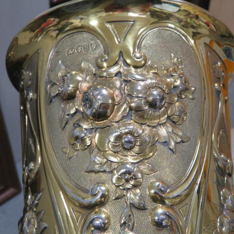Victorian silver-gilt presentation vase