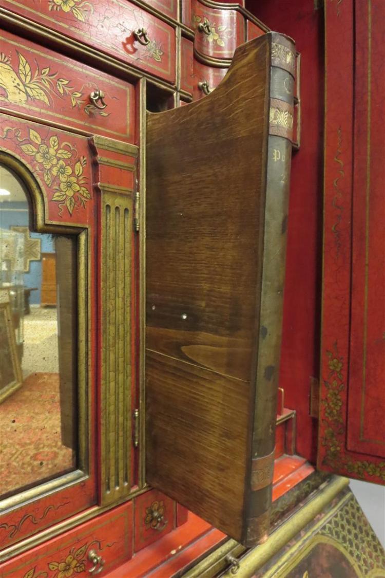 Queen Anne style parcel-gilt Chinoiserie bureau bookcase