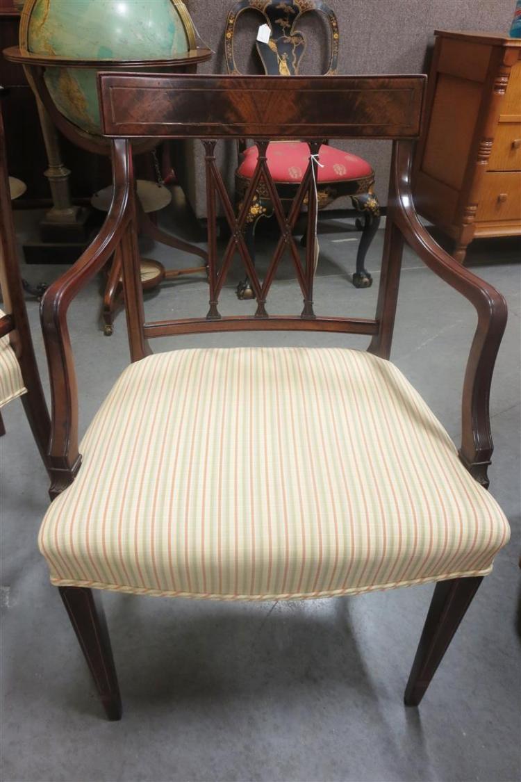 Hepplewhite style inlaid mahogany dining chairs, set of six (6pcs)