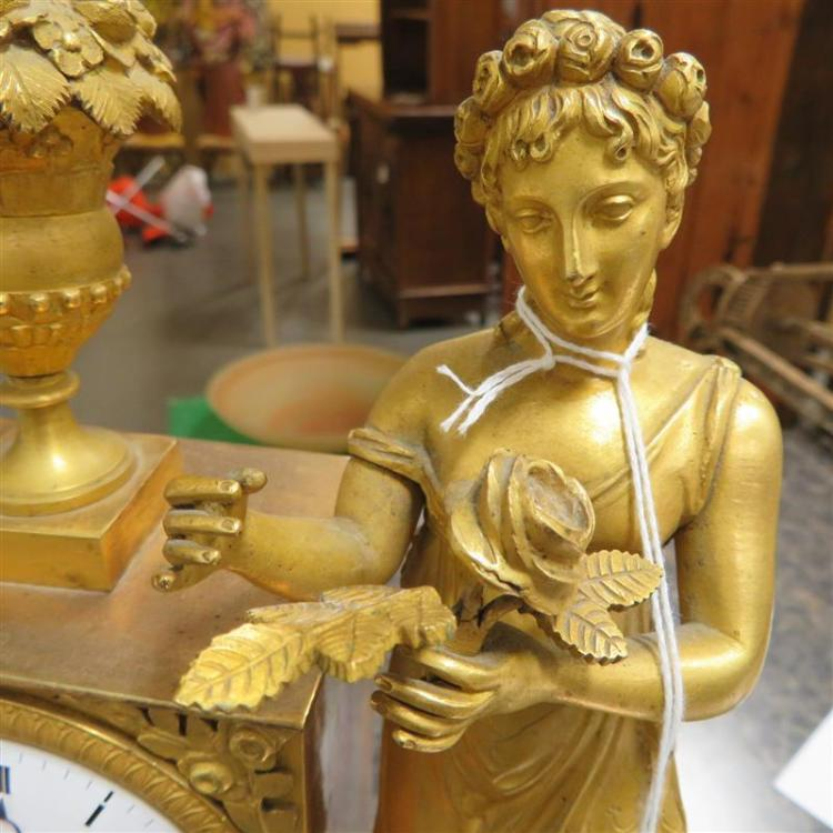 French Neoclassical ormolu figural mantle clock