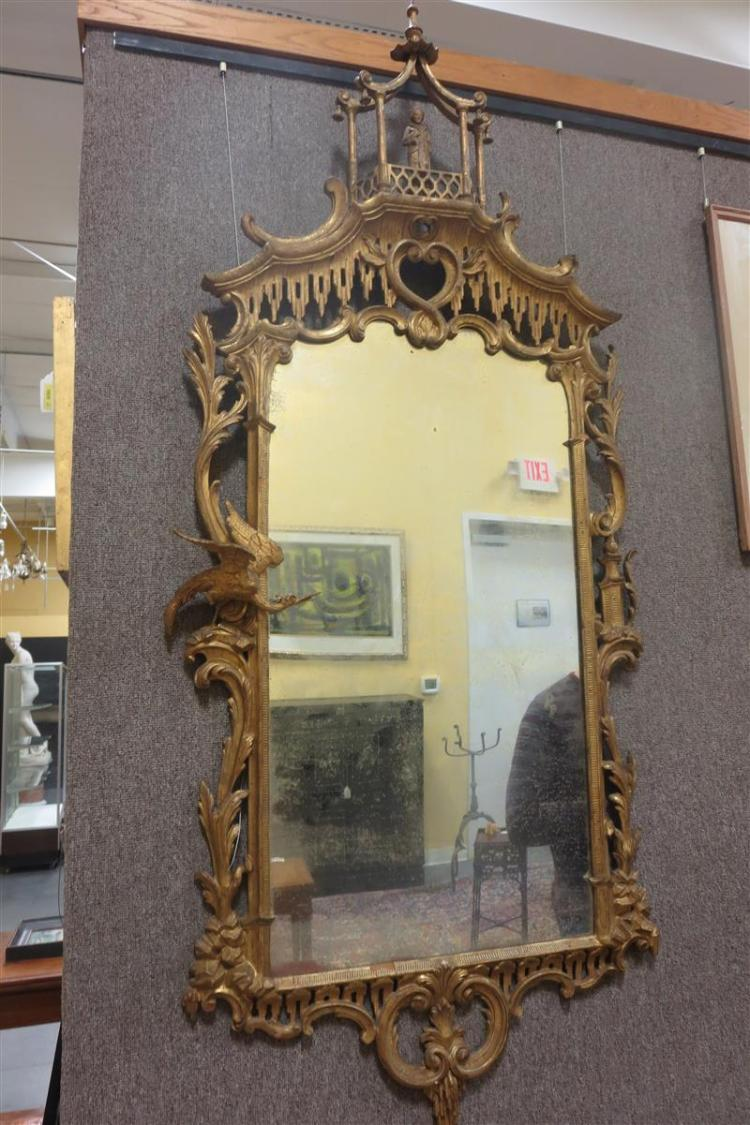 Pair Chinese Chippendale style carved giltwood mirrors (2pcs)