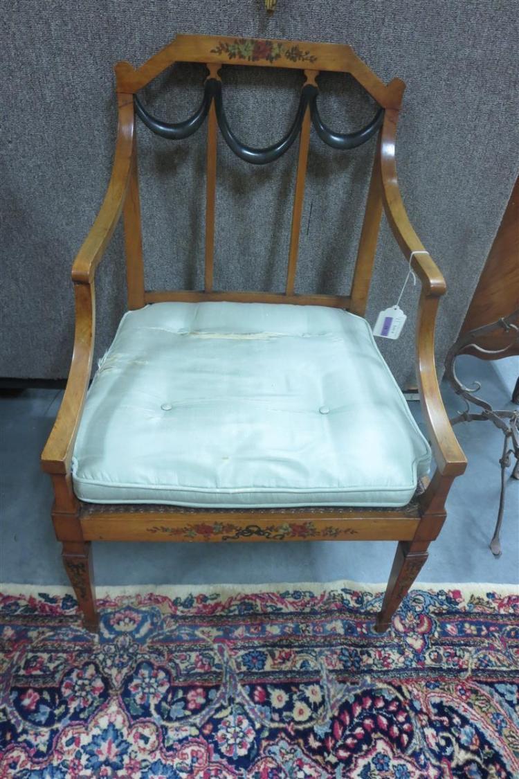 Pair Hepplewhite painted armchairs (2pcs)