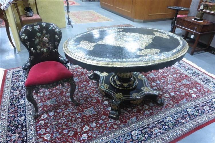 Victorian papier-mache, nacre and stenciled tilt-top table and chair (2pcs)