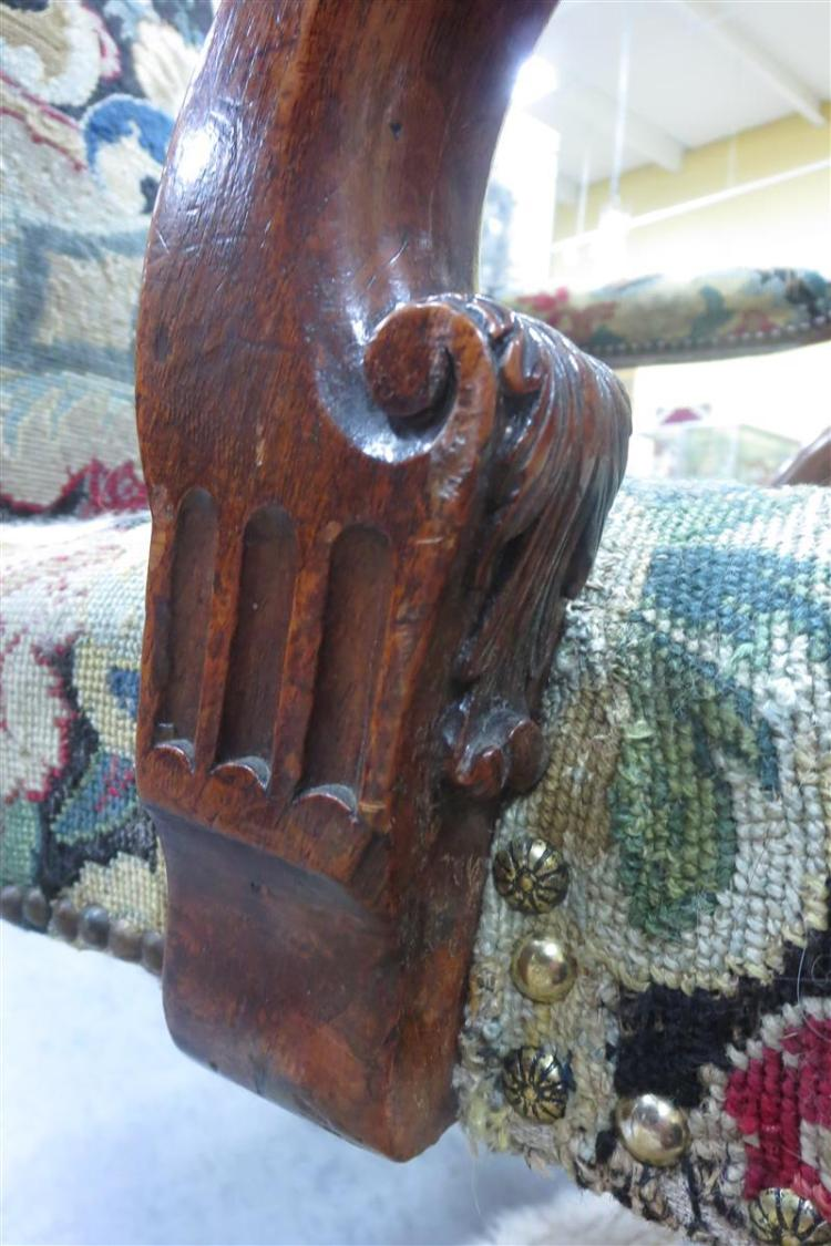 George III carved mahogany library armchair