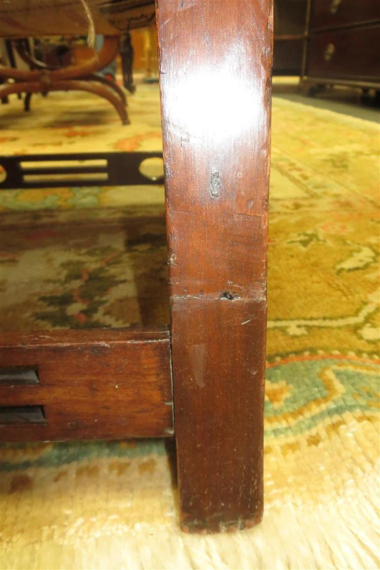 George III carved mahogany Chinese Chippendale library armchair