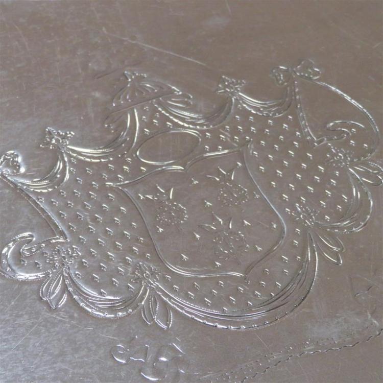 George III silver armorial tray, Elizabeth Jones