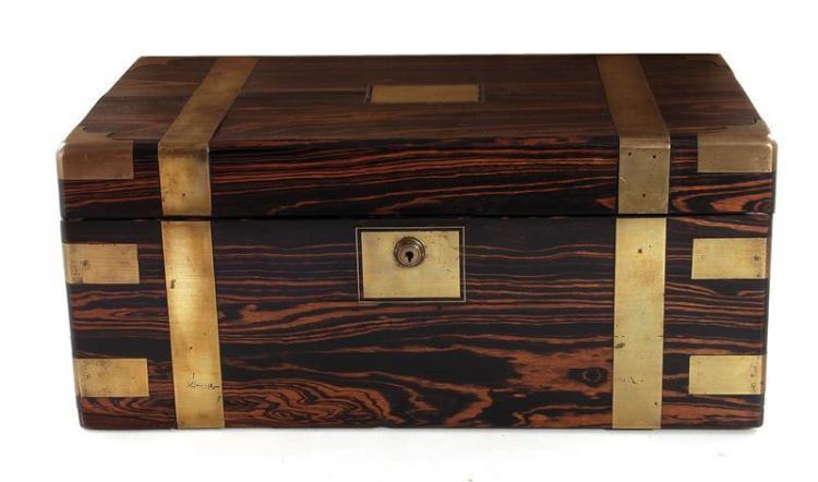 English brass-bound calamander wood writing box