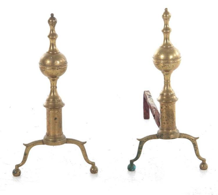 Pair Federal brass andirons, Richard Whittingham (2pcs)