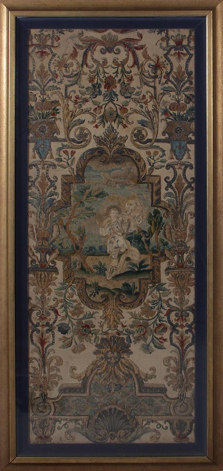 Continental framed needlework tapestries (2pcs)