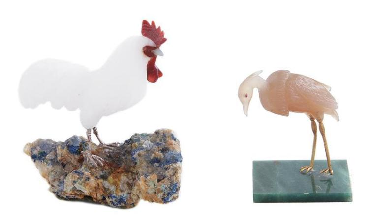 Continental carved stone figures of birds (2pcs)
