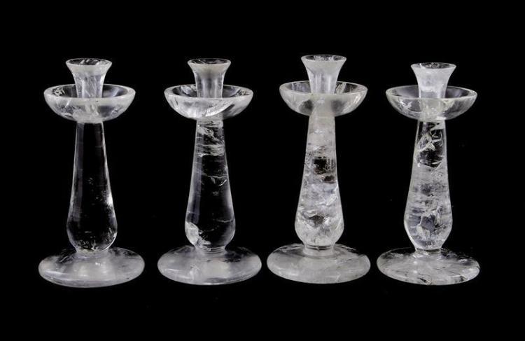 Continental rock crystal candlestick set (4pcs)