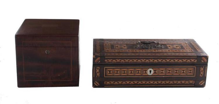English mahogany tea caddy, and Anglo-Indian box (2pcs)