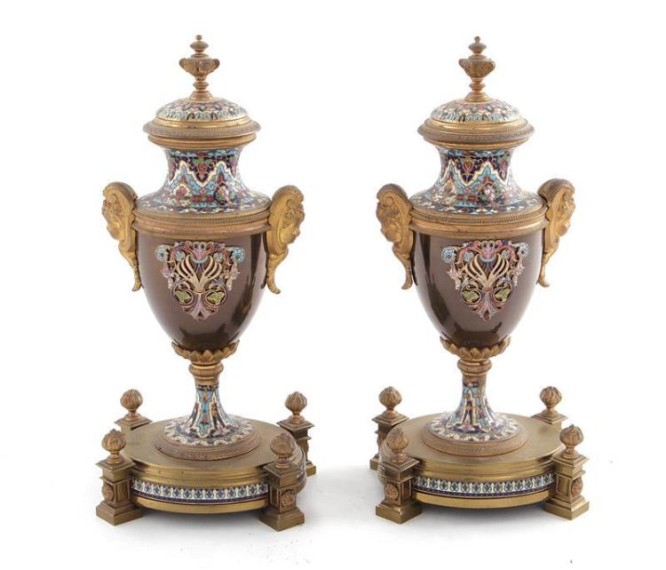Pair French champleve enamel urns (2pcs)