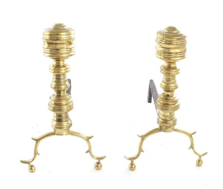 Pair Queen Anne style andirons (2pcs)