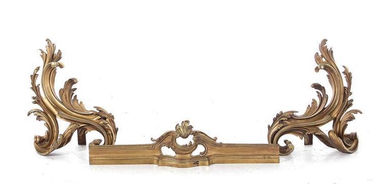 French gilt-bronze chenets (3pcs)