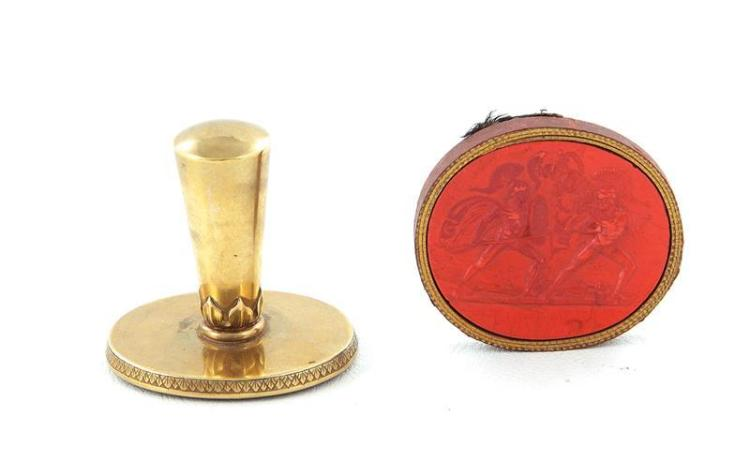 Continental carved carnelian and brass wax seal fob (2pcs)
