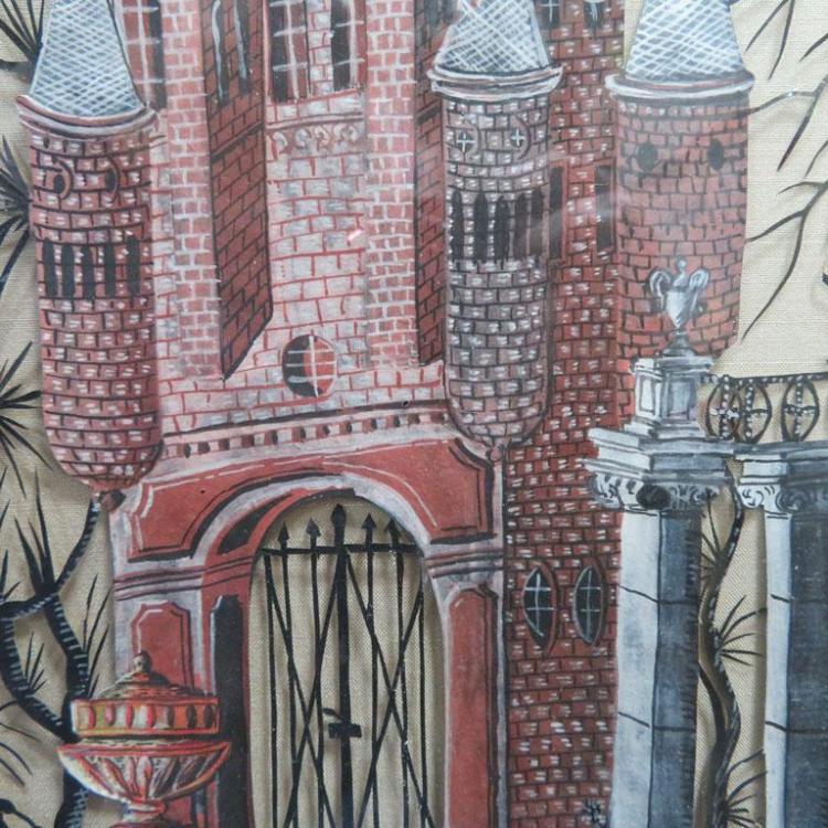 Fine Austrian painted scherenschnitte panel (papercutting)